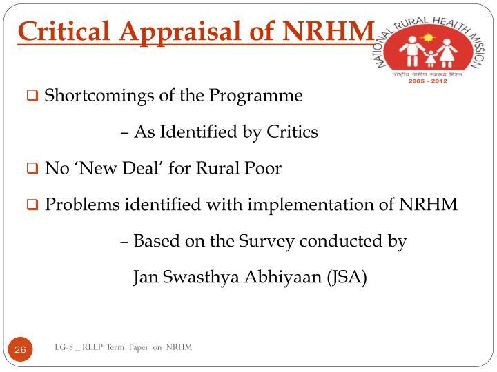 Critical Appraisal of NRHM