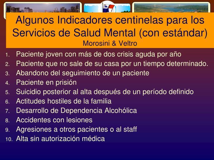 Algunos Indicadores centinelas para los Servicios de Salud Mental (con estándar)