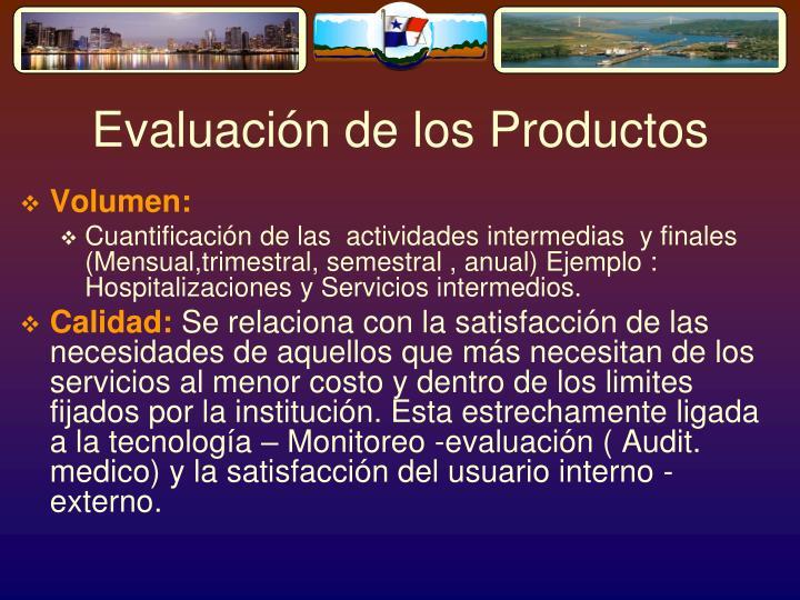 Evaluación de los Productos