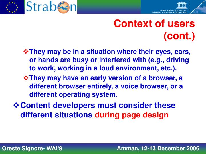 Context of users