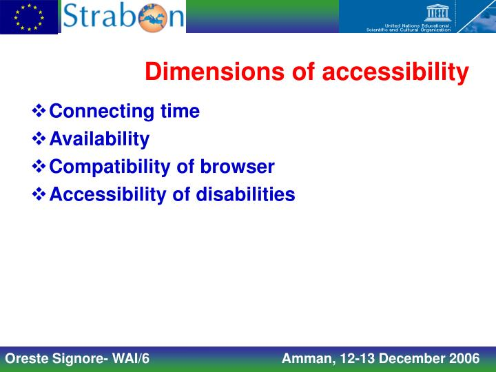 Dimensions of accessibility