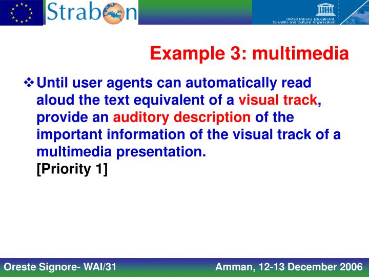 Example 3: multimedia
