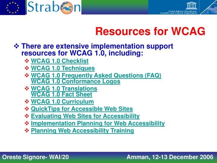 Resources for WCAG