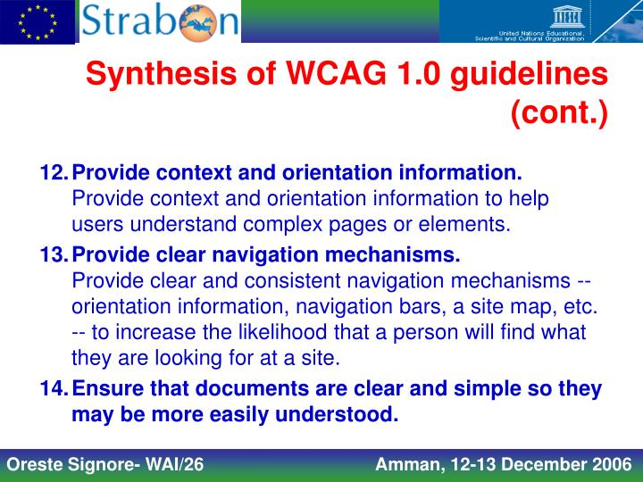 Synthesis of WCAG 1.0 guidelines