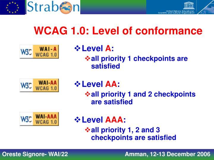 WCAG 1.0: Level of conformance