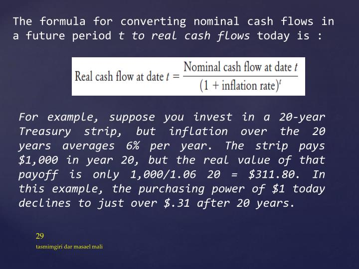The formula for converting nominal cash flows in a future period