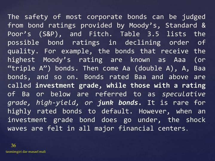 "The safety of most corporate bonds can be judged from bond ratings provided by Moody's, Standard & Poor's (S&P), and Fitch. Table 3.5 lists the possible bond ratings in declining order of quality. For example, the bonds that receive the highest Moody's rating are known as Aaa (or ""triple A"") bonds. Then come Aa (double A), A, Baa bonds, and so on. Bonds rated Baa and above are called"