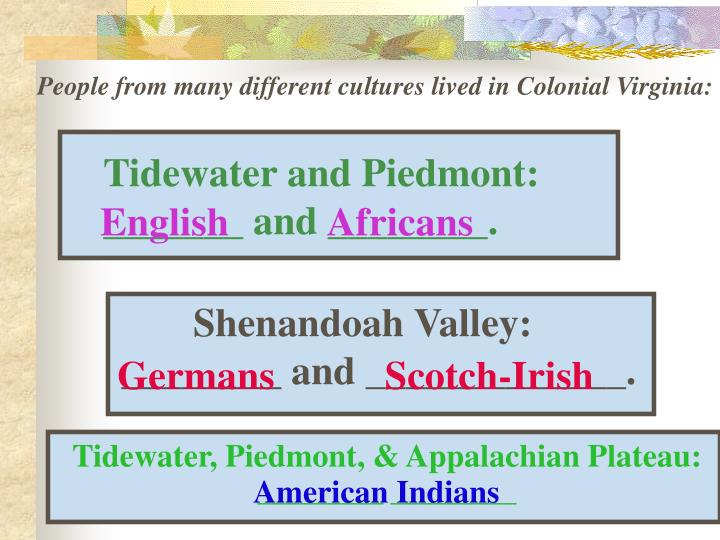 People from many different cultures lived in Colonial Virginia:
