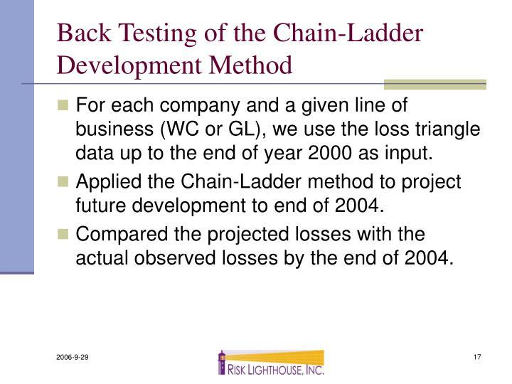 Back Testing of the Chain-Ladder Development Method