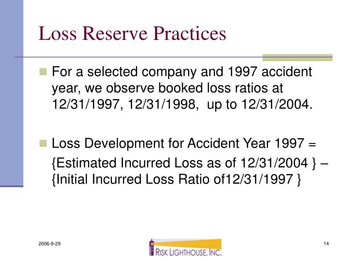 Loss Reserve Practices