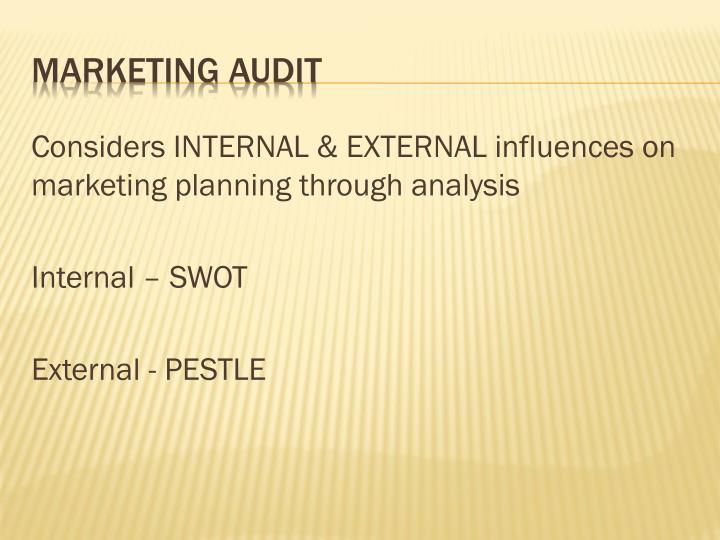 Considers INTERNAL & EXTERNAL influences on marketing planning through analysis