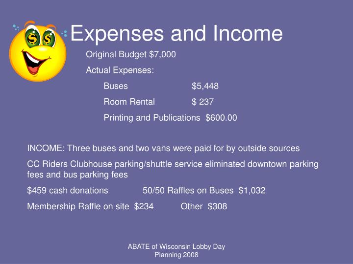 Expenses and Income