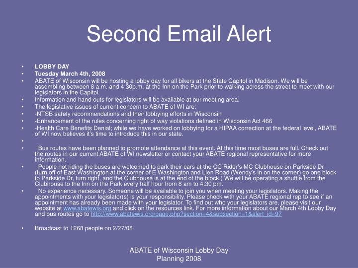 Second Email Alert