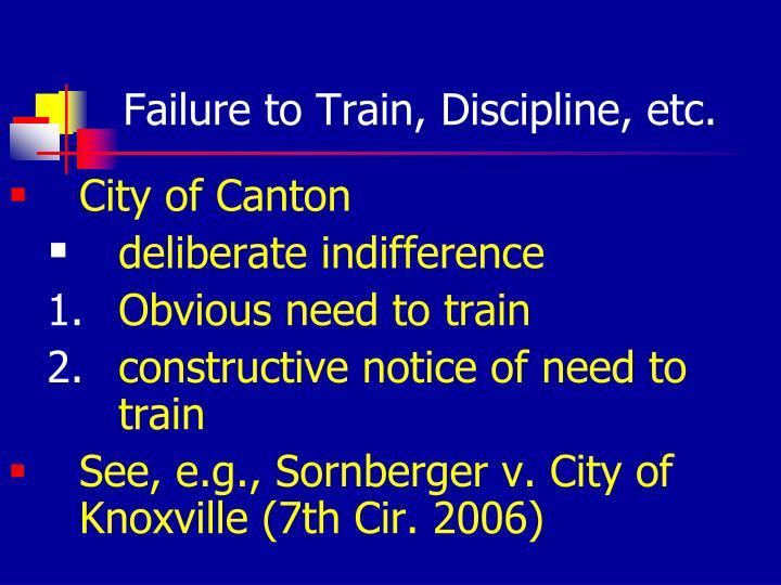 Failure to Train, Discipline, etc.