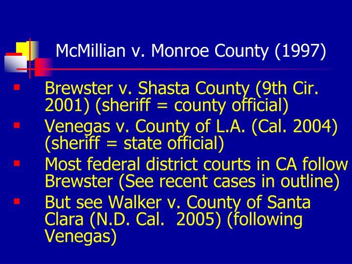 McMillian v. Monroe County (1997)