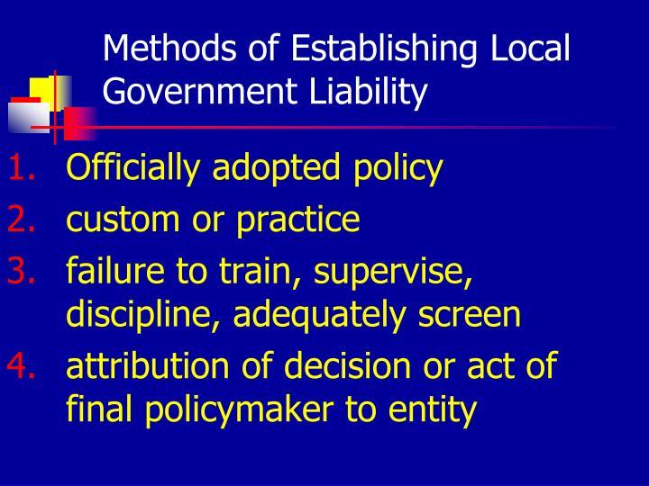 Methods of Establishing Local Government Liability