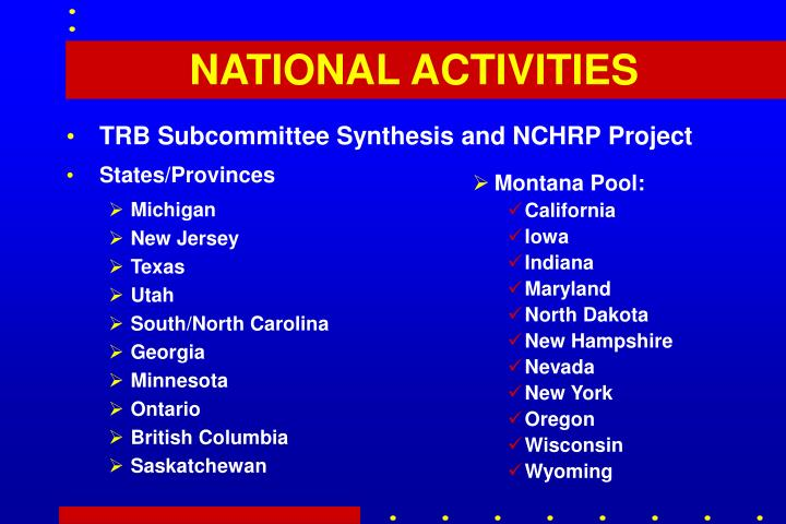 TRB Subcommittee Synthesis and NCHRP Project