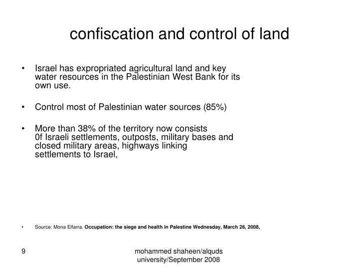 confiscation and control of land