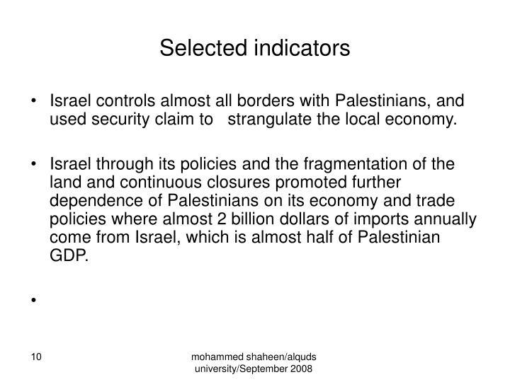 Selected indicators