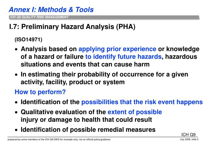 I 7 preliminary hazard analysis pha