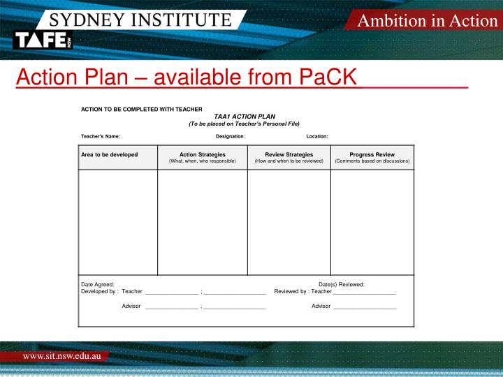 Action Plan – available from PaCK