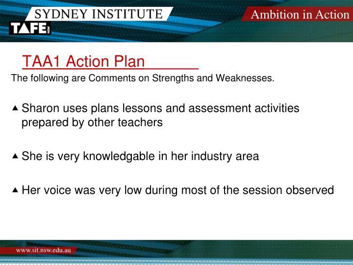 TAA1 Action Plan