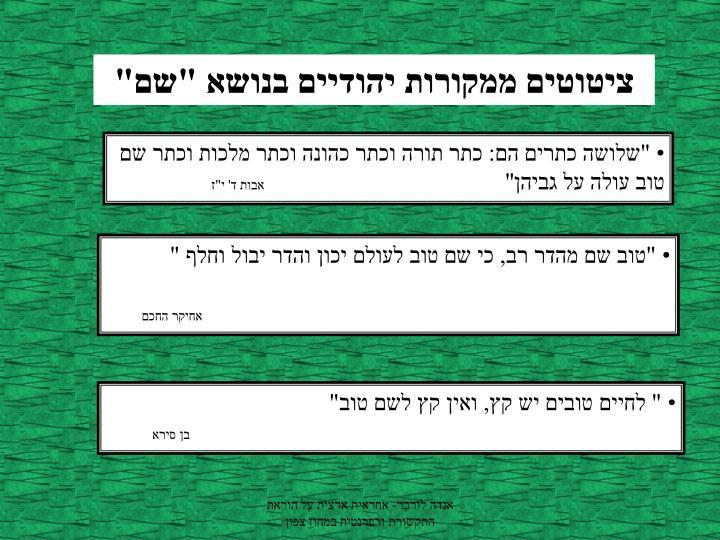 """ציטוטים ממקורות יהודיים בנושא """"שם"""""""