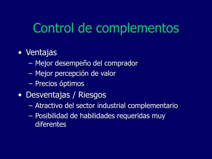 Control de complementos