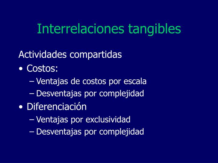 Interrelaciones tangibles