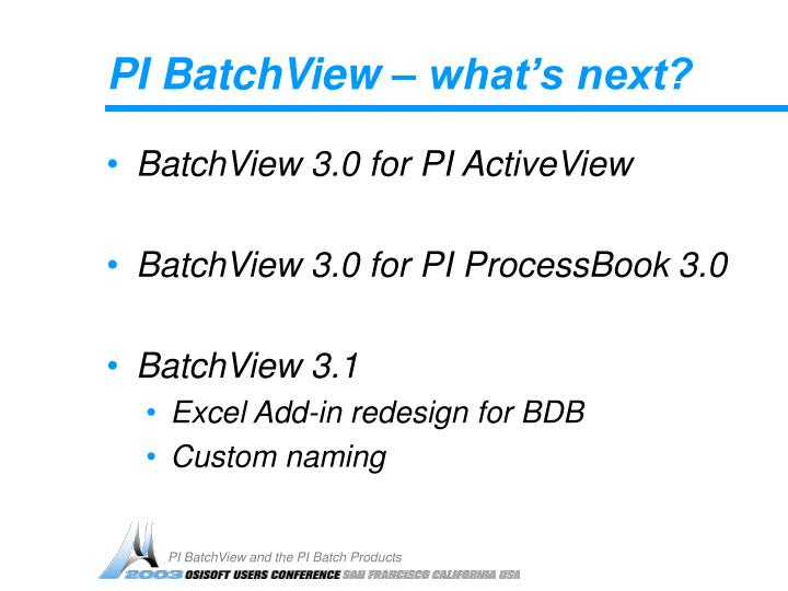 PI BatchView – what's next?