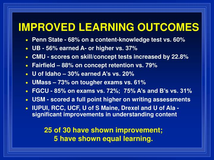 IMPROVED LEARNING OUTCOMES