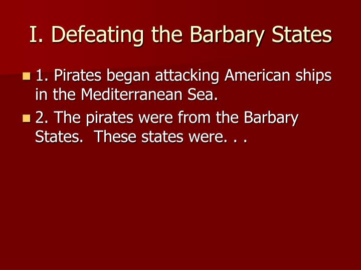 I defeating the barbary states