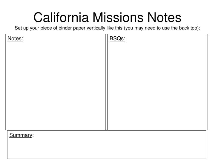 California Missions Notes