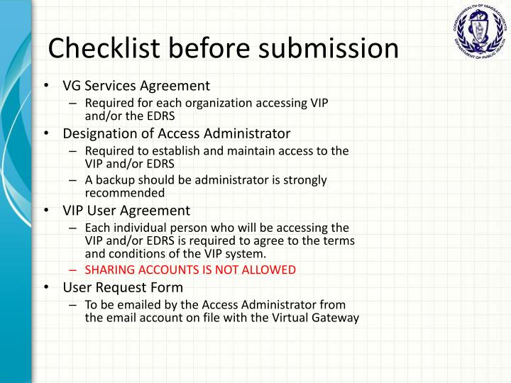Checklist before submission