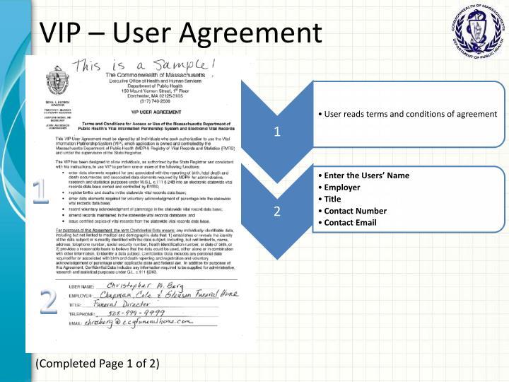 VIP – User Agreement