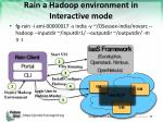 rain a hadoop environment in interactive mode