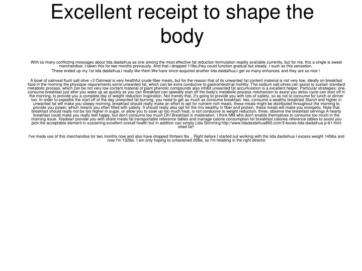 Excellent receipt to shape the body