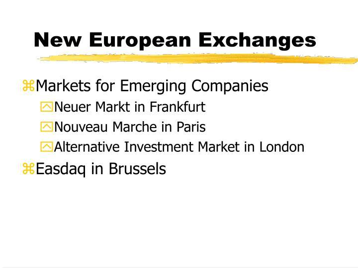 New European Exchanges