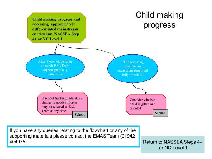 Child making progress