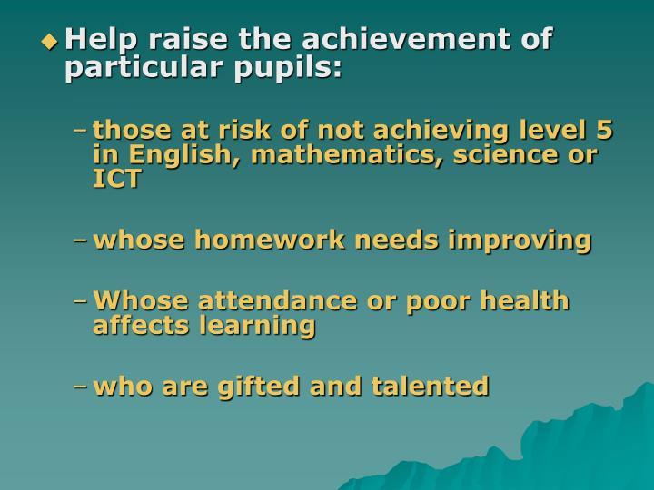 Help raise the achievement of particular pupils: