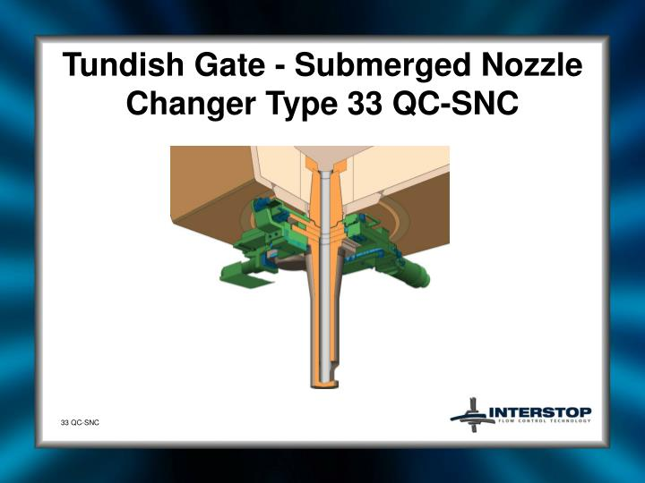 Tundish gate submerged nozzle changer type 33 qc snc1