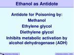 ethanol as antidote