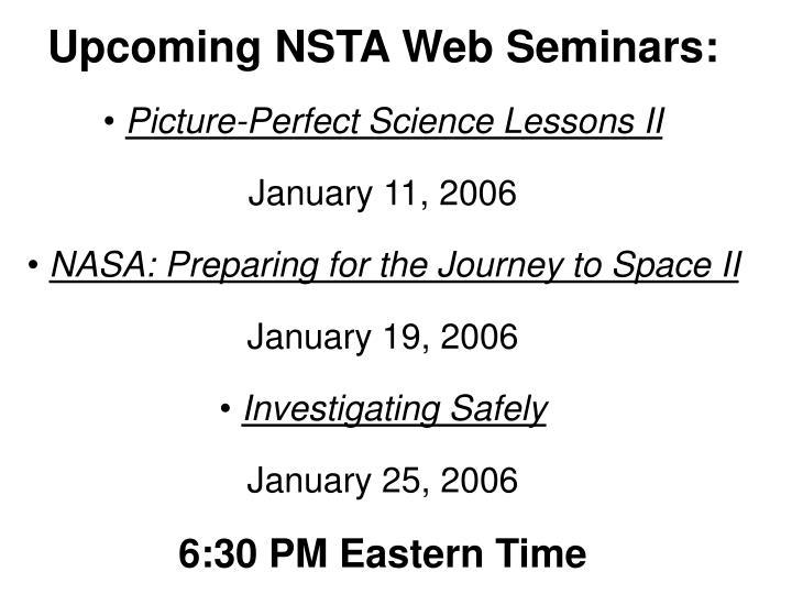 Upcoming NSTA Web Seminars: