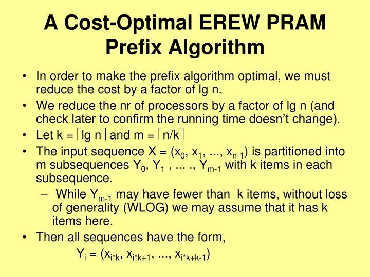 A Cost-Optimal EREW PRAM Prefix Algorithm