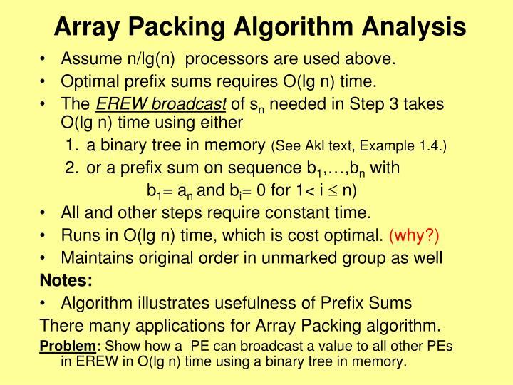 Array Packing Algorithm Analysis