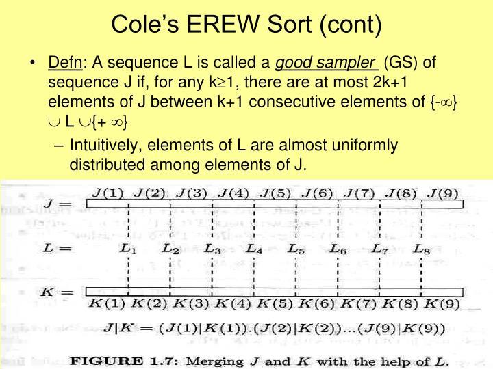 Cole's EREW Sort (cont)
