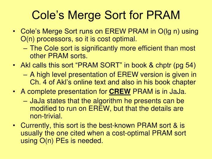 Cole's Merge Sort for PRAM