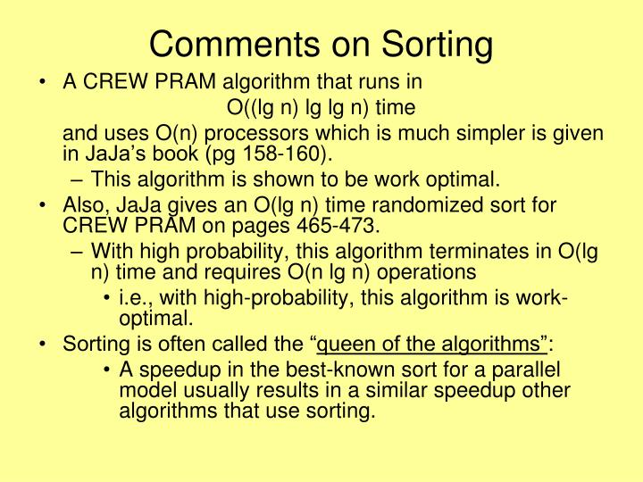 Comments on Sorting