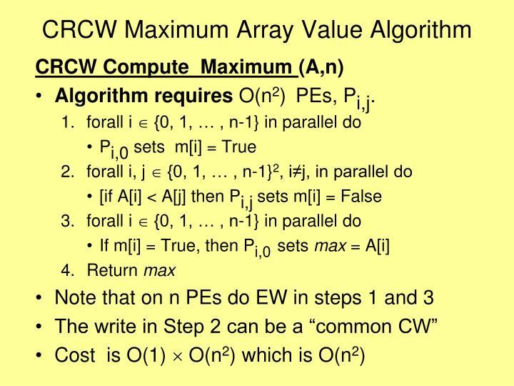 CRCW Maximum Array Value Algorithm