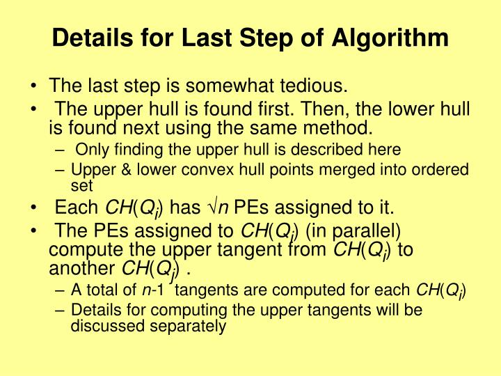 Details for Last Step of Algorithm
